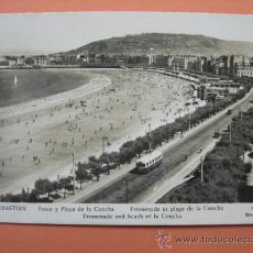 Postales: SAN SEBASTAN. PASEO Y PLAYA DE LA CONCHA. 1954. Lote 32037608