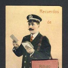 Postales: POSTAL DE BILBAO: CARTERO CON DESPLEGABLE CON 10 MINI VISTAS (VER FOTO ADICIONAL). Lote 32620414