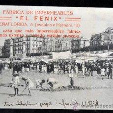 Postales: ANTIGUA POSTAL DE SAN SEBASTIÁN. JUEGOS INFANTILES EN LA PLAYA. PUBLICIDAD EL FENIX. SIN CIRCULAR. Lote 32689071