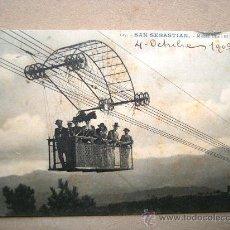 Postales: POSTAL ANTIGUA SAN SEBASTIÁN. TRANVÍA AÉREO. CIRCULADA EL 04/10/1909.. Lote 32656209