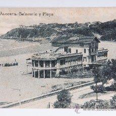 Postales: POSTAL DE ALGORTA, BALNEARIO Y PLAYA, FOTOGRAFIA VIRADA. Lote 34931733