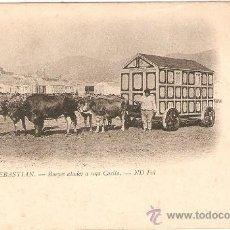 Postales: SAN SEBASTIAN - BUEYES ATADOS A UNA CASITA EDITAND FOTG. SIN CIRCULAR MUY ANTIGUA. Lote 34926866