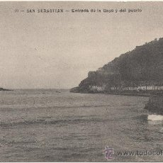 Postales: SAN SEBASTIAN.- ENTRADA DE LA BAYA Y DEL PUERTO. (C.1910).. Lote 34955641