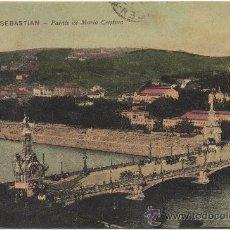 Postales: SAN SEBASTIÁN.- PUENTE DE MARÍA CRISTINA. (C.1910).. Lote 35197198