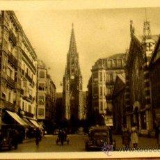 Postales: POSTAL BLANCO Y NEGRO SAN SEBASTIÁN CALLE SAN IGNACIO DE LOYOLA Y CATEDRAL FOTO GALARZA. Lote 35397401