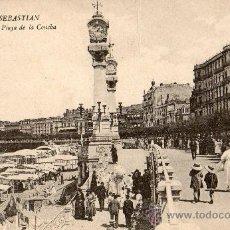 Postales: SAN SEBASTIAN=PASEO Y PLAYA DE LA CONCHA=ED. GREGORIO GALARZA=REF:XXX. Lote 35437893