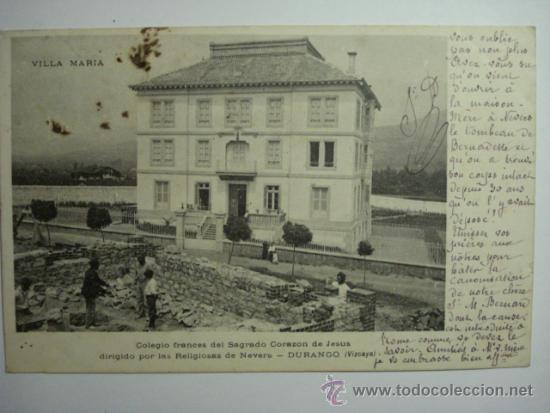 PRECIOSA Y RARISIMA POSTAL DURANGO VIZCAYA VILLA MARIA - CIRCULADA EN 1909 - MAS EN VENTA (Postales - España - Pais Vasco Antigua (hasta 1939))