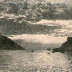 Postales: SAN SEBASTIAN ENTRADA DEL PUERTO Y PUESTA DE SOL. ED: GALARZA CIRCULADA 1909 A VILLAROBLEDO ALBACETE. Lote 35913548