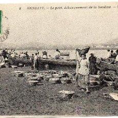 Postales: HENDAYA, GUIPUZCOA, DESEMBARCO DE LA SARDINA, MAGNFICA. Lote 36203538