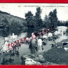 Postales: POSTAL SAN SEBASTIAN , LAS LAVANDERAS EN EL URUMEA , ORIGINAL , P77392. Lote 37554981