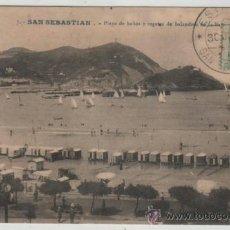 Postales: POSTAL-SAN SEBASTIAN- PLAYA Y REGATAS DE BALANDROS EN LA CONCHA. Lote 37878396