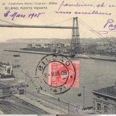 Postales: RARA POSTAL DEL PUENTE DE VIZCAYA 1908 - PORTUGALETE ESTACION FFCC - LAS ARENAS - BILBAO - LANDABURU. Lote 38034319