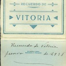Postales: VITORIA. 1O POSTALES (COMPLETO) EN ACORDEÓN. TONOS BLANCO Y NEGRO. C. 1936. Lote 38490413