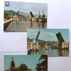 Postales: BILBAO / 3 POSTALES EN COLOR AÑO 1963 / ED.VISTABELLA - DOMINGUEZ. Lote 38944255