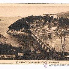 Postales: BILBAO PAISAJE VASCO ISLA DE CHACHARRAMENDI L. ROSIN ESCRITA EN 1939. Lote 39236134