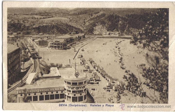 DEVA, GUIPUZCOA. HOTELES Y PLAYA. GARCIA FOTOGRAFO, SAN SEBASTIN (Postales - España - Pais Vasco Antigua (hasta 1939))