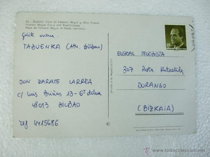 Postales: POSTAL VIZCAYA - BILBAO - PLAZA FEDERICO MOYUA Y ALTOS HORNOS - 1960 - CIRCULADA - IMP A COBOS 50 - Foto 2 - 40071208