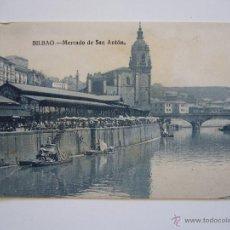 Postales: POSTAL BILBAO. MERCADO DE SAN ANTÓN. CIRCULADA 1925.. Lote 40242871