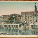 Postales: ANTIGUA POSTAL DE BILBAO - AYUNTAMIENTO Y PUENTE GIRATORIO - TIRA PANORAMICA - LUCIANO ROISIN . FOTO. Lote 39522710