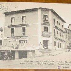Postales: ANTIGUA POSTAL DE FUENTERRABIA - HOTEL RESTAURANT MOURISCOT DE RAFAEL URRUTIA - CIRCULADA EN 1912 -. Lote 39525568
