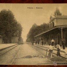 Postales: ANTIGUA POSTAL DE VITORIA (ALAVA) ESTACION DE TREN - FERROCARRIL - E.J.G. EL GALLO PARIS - CIRCULAD. Lote 39587331