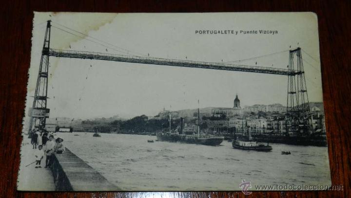 ANTIGUAPOSTAL DE PORTUGALETE, VIZCAYA, PUENTE VIZCAYA, ED. L.G. BILBAO, NO CIRCULADA. (Postales - España - Pais Vasco Antigua (hasta 1939))