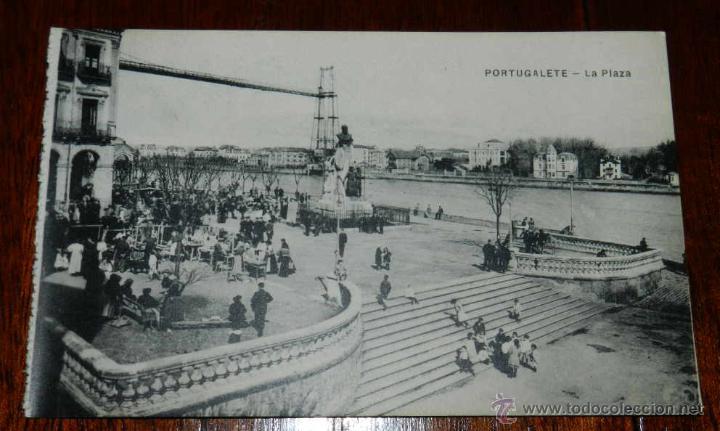ANTIGUAPOSTAL DE PORTUGALETE, VIZCAYA, LA PLAZA Y PUENTE VIZCAYA, ED. L.G. BILBAO, NO CIRCULADA. (Postales - España - Pais Vasco Antigua (hasta 1939))