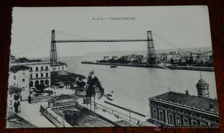 ANTIGUAPOSTAL DE PORTUGALETE, PUENTE VIZCAYA, ED. L.G. BILBAO, NO CIRCULADA. (Postales - España - Pais Vasco Antigua (hasta 1939))