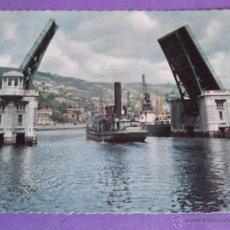 Postales: BILBAO-V23- ESCRITA-PUENTE BASCULANTE DEL GENERALISIMO. Lote 40385603
