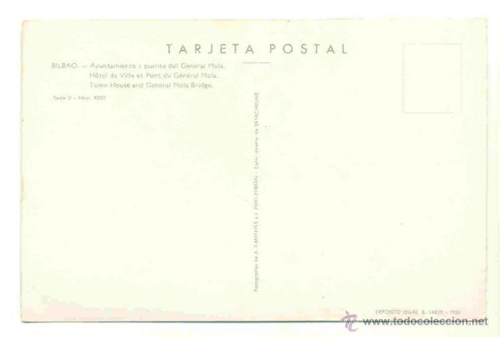 Postales: Bilbao - Ayuntamiento y puente del General Mola - DP 1958 - Foto 2 - 40619698