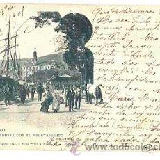 Postales: BILBAO SENDEJA CON EL AYUNTAMIENTO. LANDABURU HERMANAS. REVERSO SIN DIVIDIR. CIRCULADA. Lote 40991941