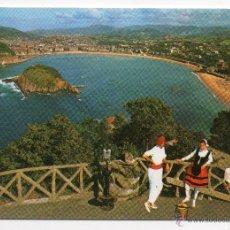 Postales: SAN SEBASTIÁN. VISTA DESDE IGUELDO. TRAJES REGIONALES. AÑO 1970.. Lote 40999480