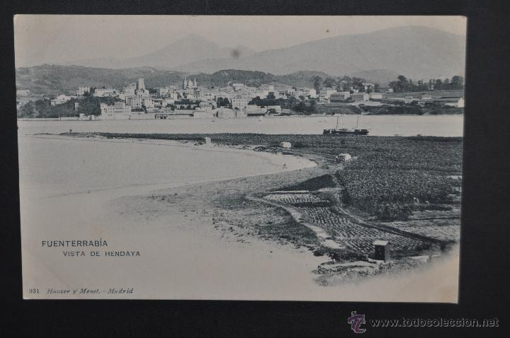ANTIGUA POSTAL DE FUENTERRABIA. GUIPUZCOA. VISTA DE HENDAYA. HAUSER Y MENET. SIN CIRCULAR (Postales - España - Pais Vasco Antigua (hasta 1939))