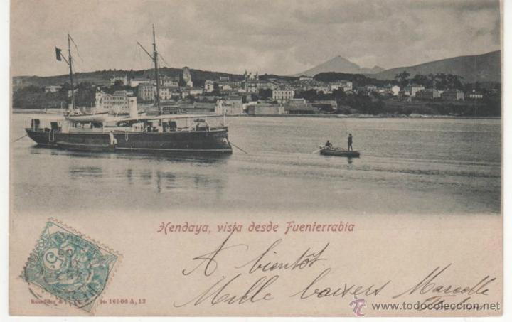 HENDAYA, VISTA DESDE FUENTERRABÍA (Postales - España - Pais Vasco Antigua (hasta 1939))