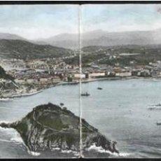 Postales: POSTAL ANTIGUA DOBLE SAN SEBASTIAN VISTA DESDE EL MONTE IGUELDO ED. ROMMLER. Lote 41543087