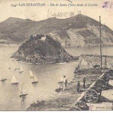 Postales: PS4143 SAN SEBASTIÁN 'ISLA DE SANTA CLARA DESDE EL CASTILLO'. ED. GALARZA. CIRCULADA. Lote 42403611