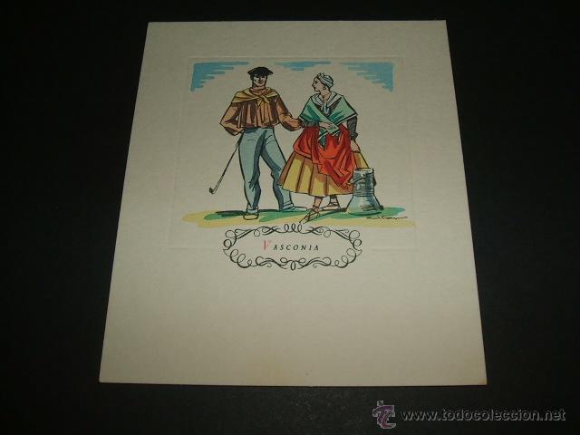 PAIS VASCO VIZCAYA GUIPUZCOA VASCOS ANTIGUA TARJETA LITOGRAFICA ACUARELADA A MANO 12X 10,5 CMTS (Postales - España - Pais Vasco Antigua (hasta 1939))