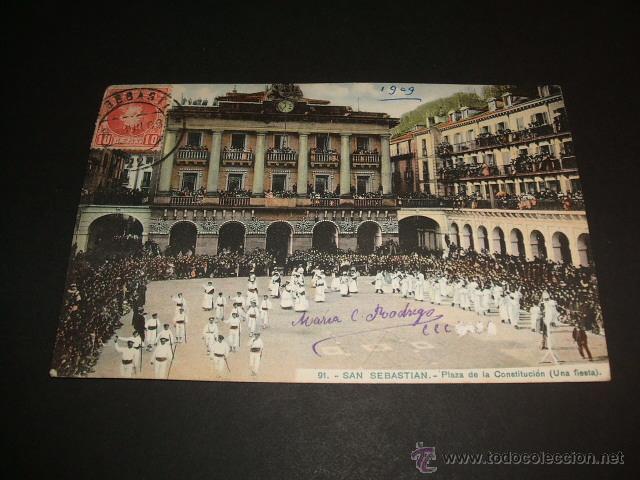 SAN SEBASTIAN GUIPUZCOA PLAZA DE LA CONSTITUCION UNA FIESTA (Postales - España - Pais Vasco Antigua (hasta 1939))