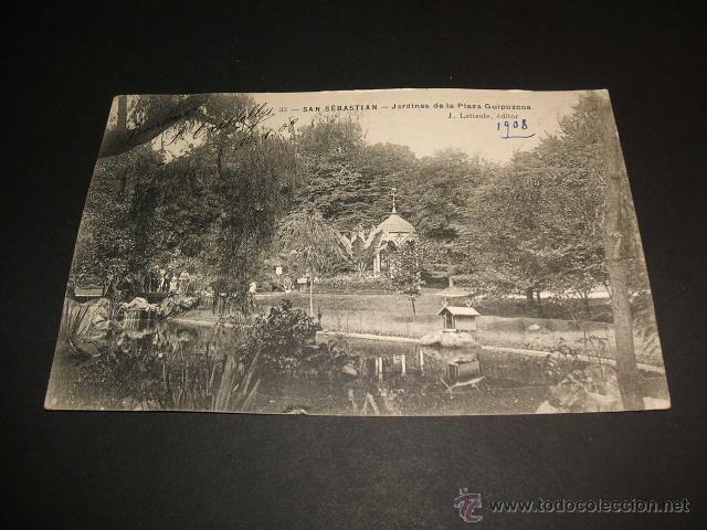 SAN SEBASTIAN GUIPUZCOA JARDINES DE LA PLAZA GUIPUZCOA J. LATIEULE EDITOR (Postales - España - Pais Vasco Antigua (hasta 1939))