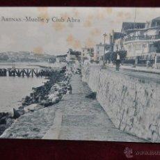 Postales: ANTIGUA POSTAL GETXO, VIZCAYA. ARENAS. MUELLE Y CLUB ABRA. SIN CIRCULAR. Lote 42926317