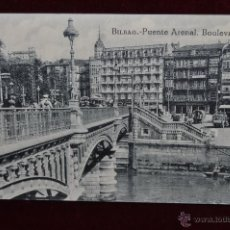 Postales: ANTIGUA POSTAL DE BILBAO. PUENTE ARENAL. BOULEVARD. SIN CIRCULAR. Lote 43005812
