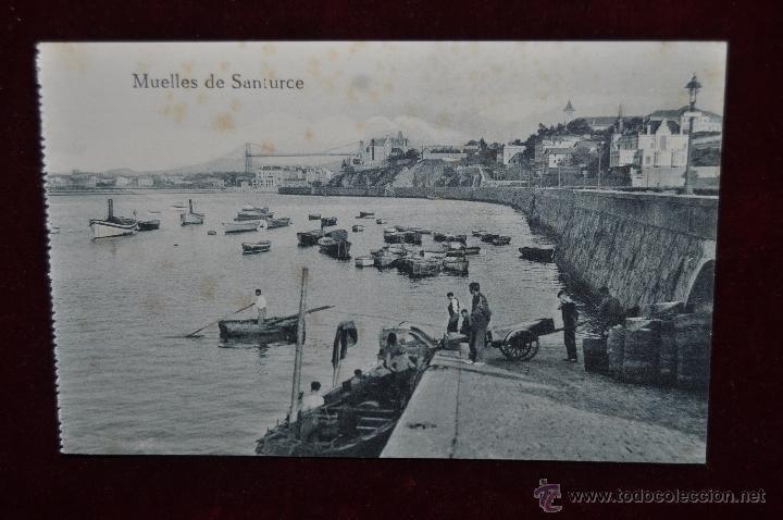 ANTIGUA POSTAL MUELLES DE SANTURCE. VIZCAYA. SIN CIRCULAR (Postales - España - Pais Vasco Antigua (hasta 1939))