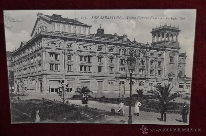 ANTIGUA POSTAL DE SAN SEBASTIAN. TEARTO VICTORIA EUGENIA, FACHADA SUR. SIN CIRCULAR (Postales - España - Pais Vasco Antigua (hasta 1939))