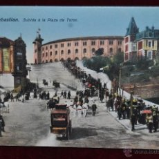 Postales: ANTIGUA POSTAL DE SAN SEBASTIAN. SUBIDA A LA PLAZA DE TOROS. SIN CIRCULAR. Lote 43235497