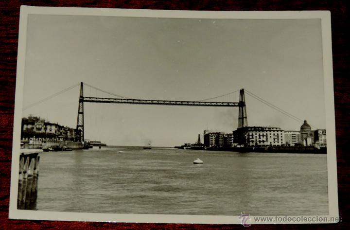 FOTOGRAFIA DE PORTUGALETE (VIZCAYA).- PUENTE VIZCAYA - AÑOS 50 - MIDE 10,3 X 7,3 CMS. (Postales - España - Pais Vasco Antigua (hasta 1939))