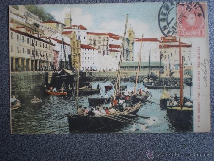 SAN SEBASTIAN SALIDA DE PESCADORES POSTAL ANTIGUA (Postales - España - Pais Vasco Antigua (hasta 1939))