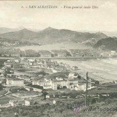 Postales: POSTAL SAN SEBASTIAN - VISTA GENERAL DESDE ULIA. Lote 43707609
