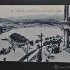 Postales: ANTIGUA POSTAL DE SAN SEBASTIAN. VISTA GENERAL DESDE EL MONTE IGUELDO. SIN CIRCULAR. Lote 43725745