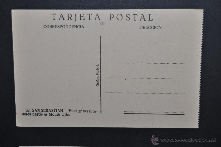 Postales: ANTIGUA POSTAL DE SAN SEBASTIAN. VISTA GENERAL TOMADA DESDE EL MONTE ULIA. ED. GRAFOS. SIN CIRCULAR - Foto 2 - 43726804