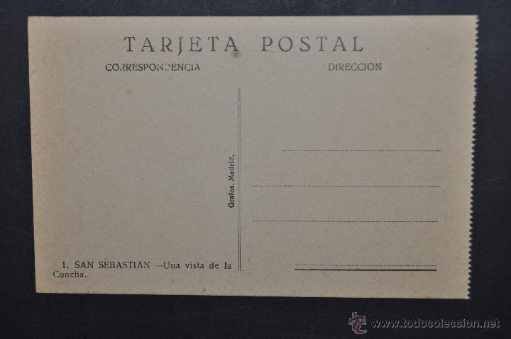 Postales: ANTIGUA POSTAL DE SAN SEBASTIAN. UNA VISTA DE LA CONCHA. ED. GRAFOS. SIN CIRCULAR - Foto 2 - 43727169